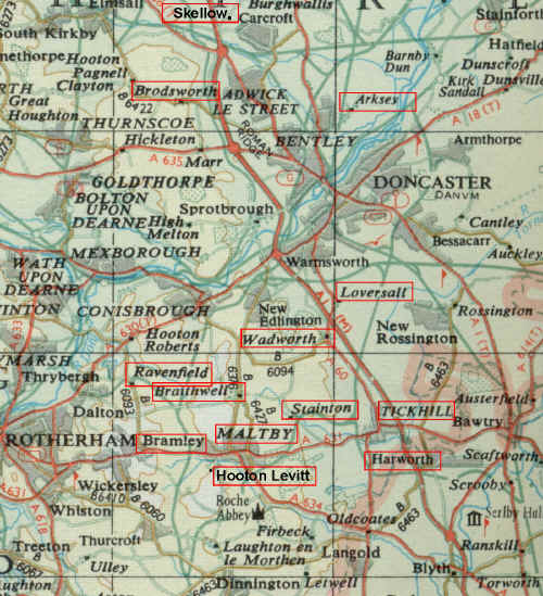 Map showing the Maltby / Tickhill area of Yorkshire